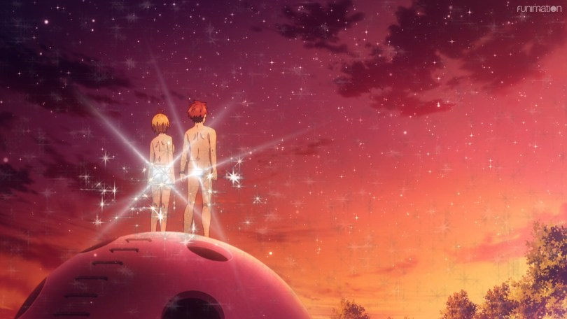 Retto and Kirara standing on top of the playground structure, looking off into the sunset, with sparkles covering their butts