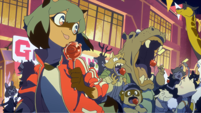 Michiru eating a candy apple happily at a crowded festival of beastpeople