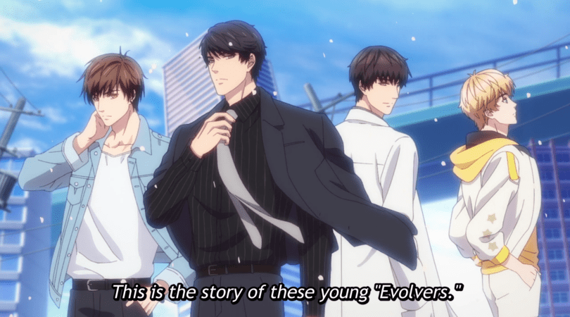 "Four young man posing amidst flying cherry blossoms. Subtitle reads ""This is the story of these young Evolvers"""