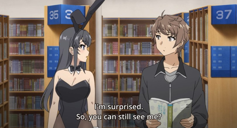 "A young woman dressed in a Playboy bunny suit, looking at a confused young man. Subtitle text reads: ""I'm surprised. So, you can still see me?"""