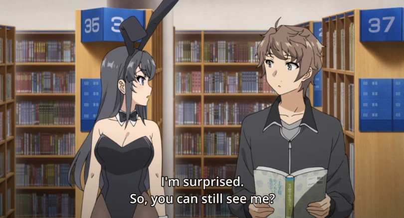 """A young woman dressed in a Playboy bunny suit, looking at a confused young man. Subtitle text reads: """"I'm surprised. So, you can still see me?"""""""