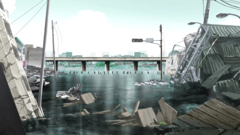 This image shows a destroyed Tokyo the day after the initial earthquake. Due to rising water levels and a tsunami, the streets are partially flooded. A group of survivors travels through the water in a line.