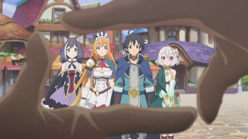 a pair of hands in front of the camera framing the four leads of fantasy series Princess Connect