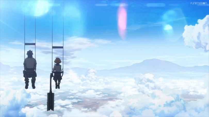 two figures in swings looking out over a cloudy sky