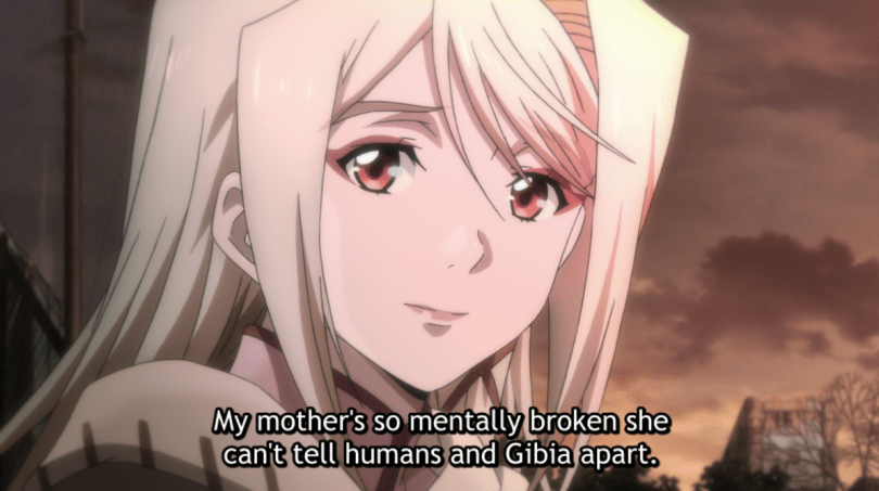 close-up of Kathleen's face. subtitle: My mother's so mentally broken she can't tell humans and Gibia apart.