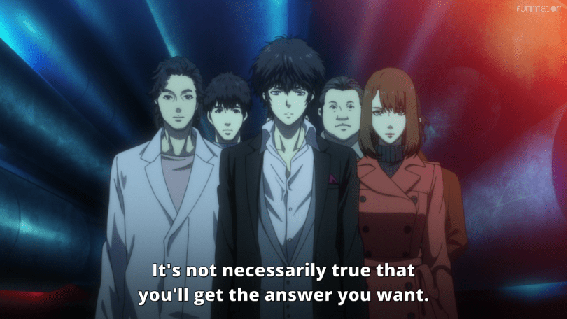 A group of people surround a young man. They walk together down a dark corridor. Subtitle: It's not necessarily true that you'll get the answer you want.