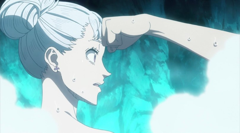 close-up of Noelle with Mereoleona's fist against her forehead