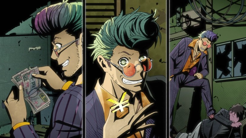 Three panels of a man in a cheap suit with a pompadour counting money and grinning cheekily at the camera.