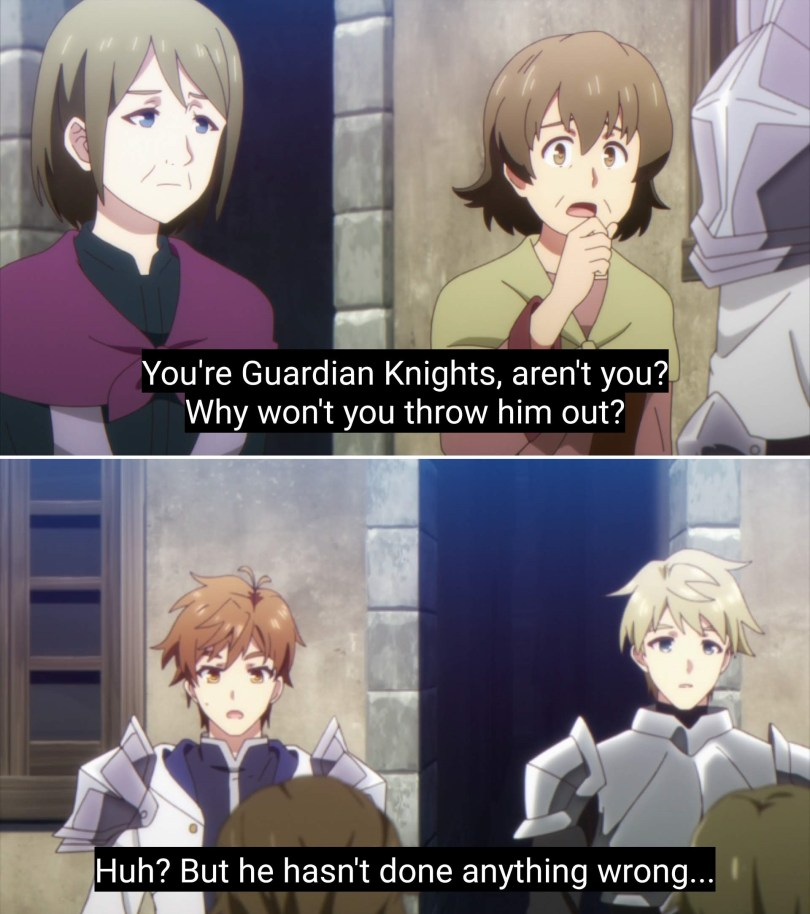 """Two screenshots. In the top one, two women look concerned as one says """"You're Guardian Knights. Why won't you throw him out?"""" In the bottom image, Kasel stands next to a fellow knight, confused, and says """"But he hasn't done anything wrong."""""""