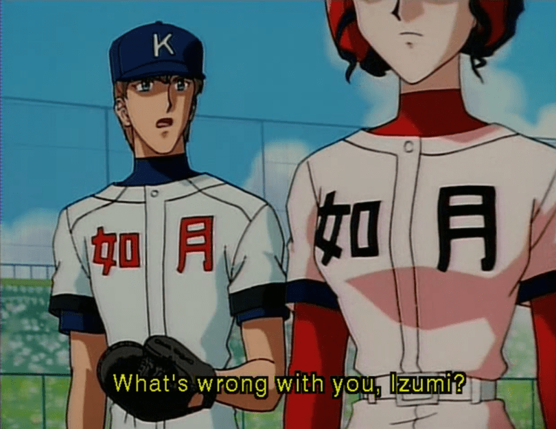 "Hiroki and Izumi, both in baseball uniforms, stand next to each other. Hiroki says ""What's wrong with you, Izumi?"""