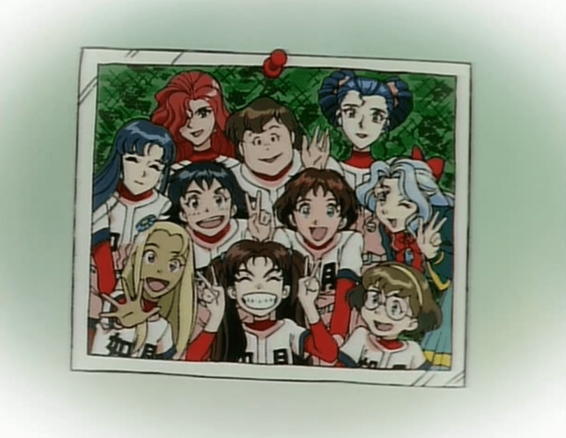 A photo of the Kisaragi girls' baseball team pinned to a wall. All the girls are smiling, several flashing peace signs.