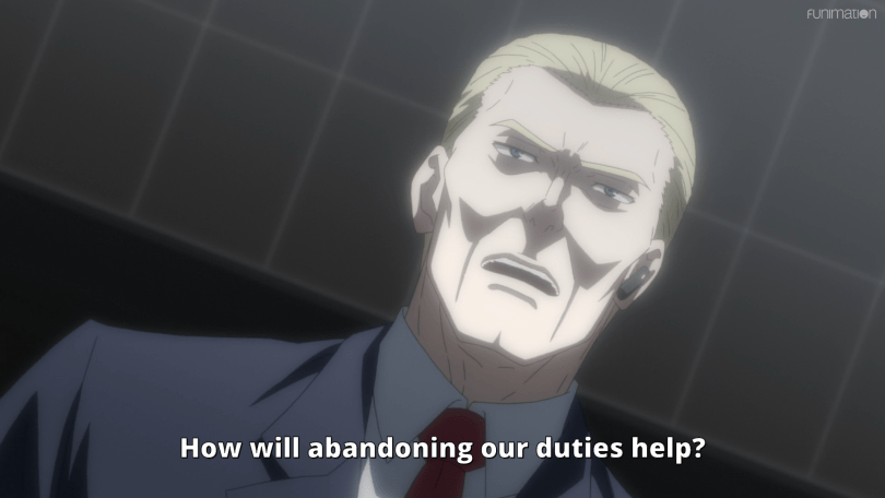 A white man in a suit speaks in an ominously lit room. Subtitle: How will abandoning our duties help?