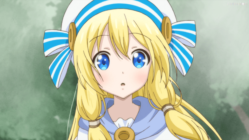 A blonde haired young girl wearing a cute hat. She is lightly blushing and looks on with curiosity.