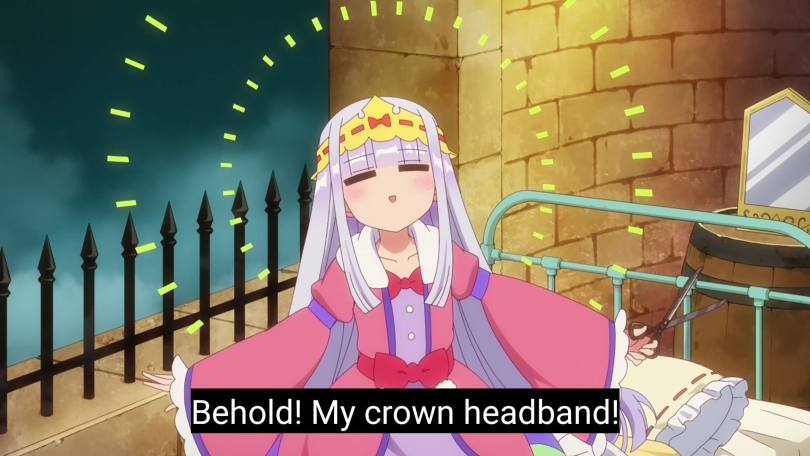 "Syallis says ""Behold! My crown headband!"" as she sits on her bed, light shining from her almost angelically"