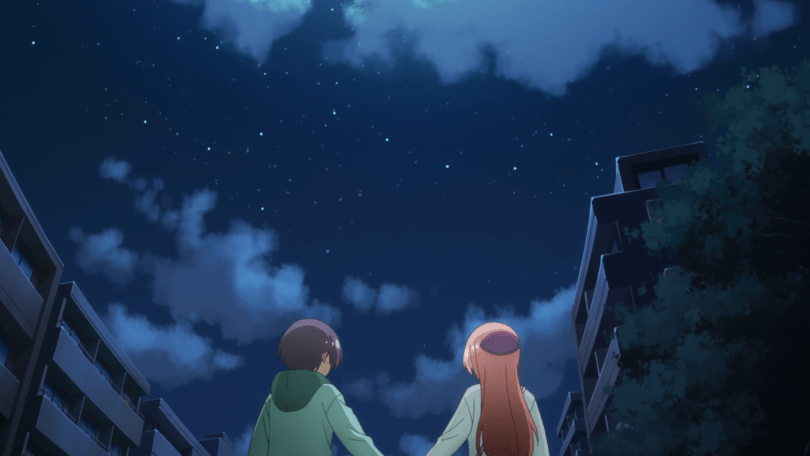 TONIKAWA leads Nasa and Tsubasa stand outside in a residential area under a cloudly, starlit sky.