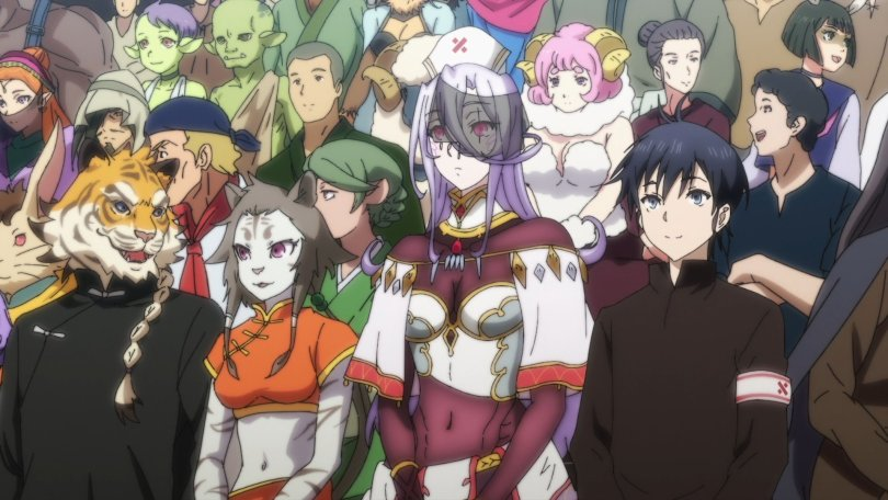 a crowd of monster folks of various species sitting together