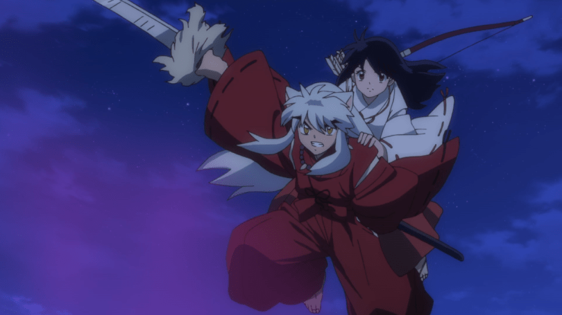 Kagome riding on Inuyasha's back, both of them armed