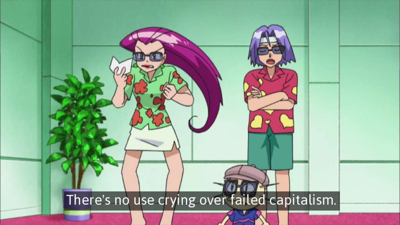 """Team Rocket stands in a lobby wearing Aloha shirts and sunglasses. Jessie glares at a piece of paper while James crosses his arms and says """"There's no use crying over failed capitalism."""""""
