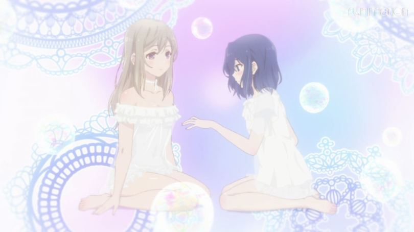 Adachi's fantasy sequence of her and Shimamura in lacy white dresses as she reaches toward Shimamura's chest