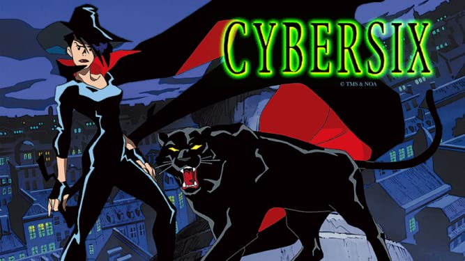 Cybersix on a rooftop with a snarling panther