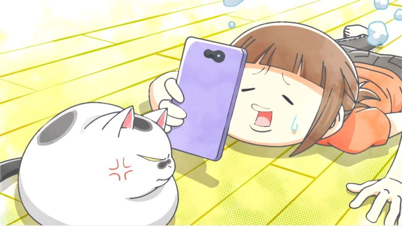 a person flat on the floor trying desperately to take a phone video of her annoyed cat