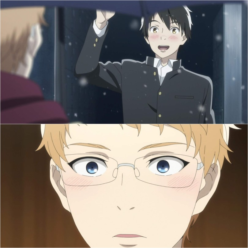 Two images. In the top one, Yuni smiles, waves and blushes at Chika. The bottom image is a close-up of chika blushing and looking surprised.