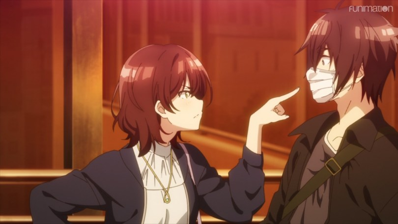Aoi pointing at Tomozaki's face