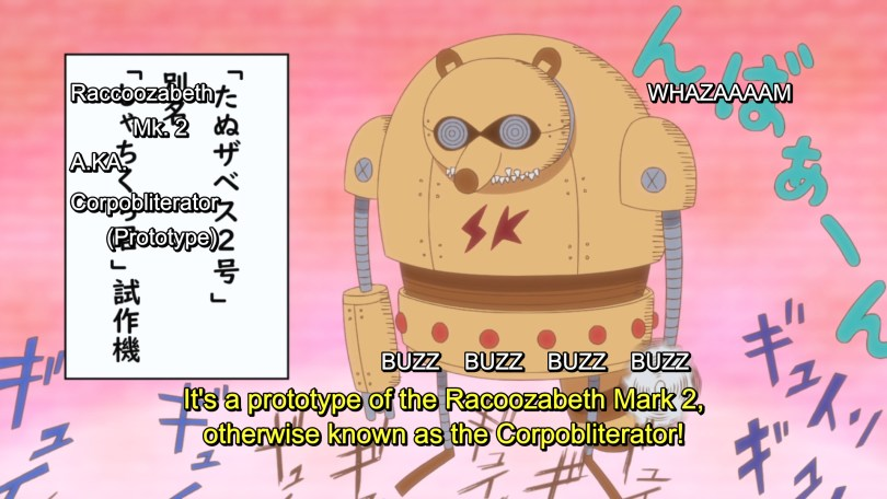 A robot racoon. There is a mess of onomatapoiea and subtitles like buzz whazaaam. A jumbled textbox reads: Raccoozabeth Mk. 2 A.KA. Corpobliterator (Prototype) Subtitle: It's a prototype of the Racoozabeth mark 2, otherwise known as the Corpobliterator!