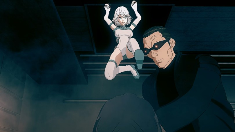 A 3D white haried robot woman jumps from the ceiling down to a werid looking goggle wearing man.