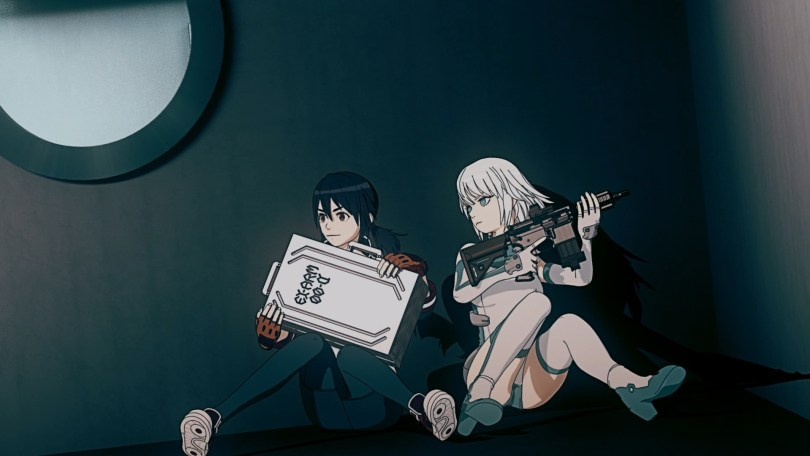 Natsume holds a briefcase labeled Ex-Arm 00-A while Arma hunkers down with her with a rifle.