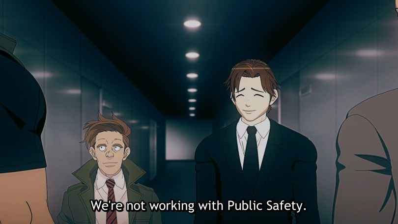 Two men stand next to each other talking to two other men in a hallway. the hallway looks like a filtered photo while three of the men appear to be in 3D while the fourth is clearly a drawing. Subtitle: We're not working with Public Safety