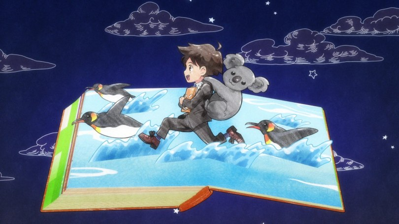Shimoda runs across the page of a book as if he's a pop-up figure, with a koala on his back and penguins jumping in the waves beneath his feet
