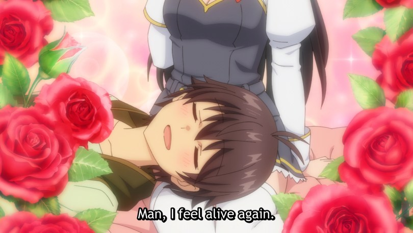 Noir lays his head on his sister's thighs as roses bloom around him. Subtitle: Man, I feel alive again.