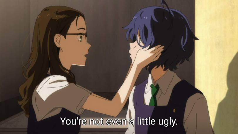 """Koito squishes Ai's cheeks and says """"You're not even a little ugly."""""""