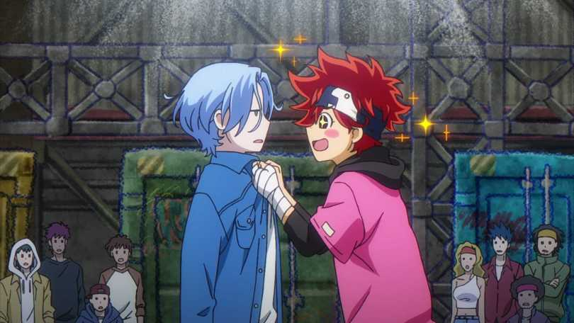 An excited redhead grasping a nonplussed blue-haired guy by the collar