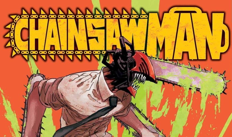 cover of Chainsaw Man, a man with a chainsaw for a head