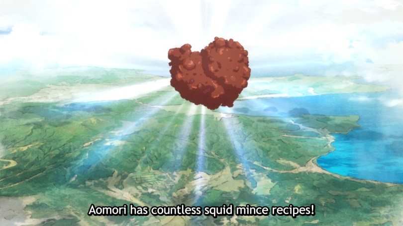A squid mince, glowing and floating in the sky. Subtitle: Aomori has countless squid mince recipes!