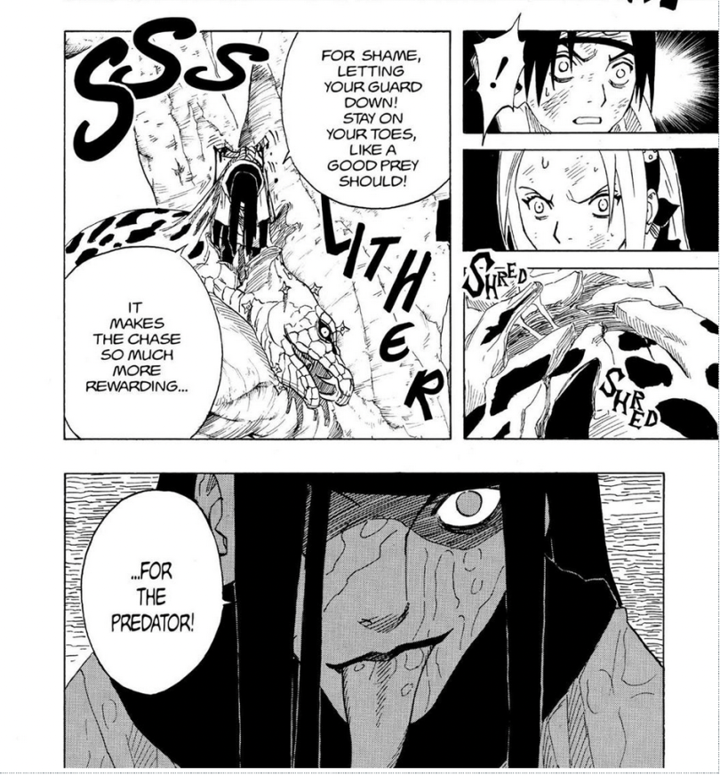 Manga panel of Orochimaru's first fight against the main trio in chapter 47 of Naruto