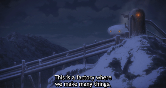 A factory on a snowy cliff. subtitle: This is a factory where we make many things.