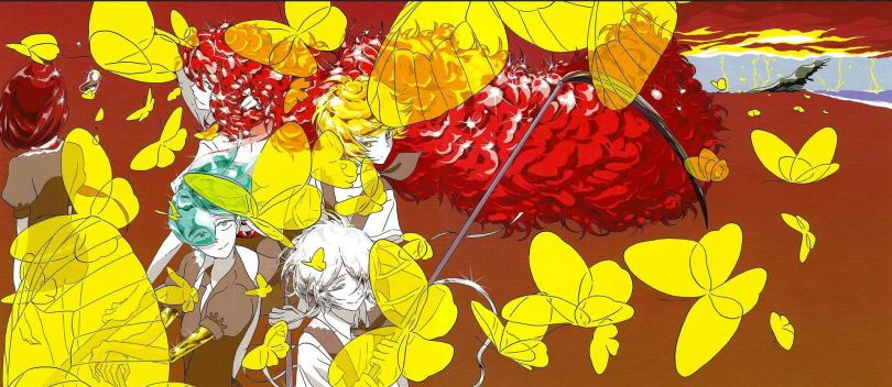 a cover image of Land of the Lustrous toned in yellows and reds