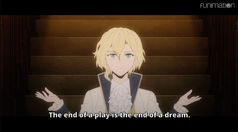 A small blonde vampire before a stage. subtitle: the end of a play is the end of a dream