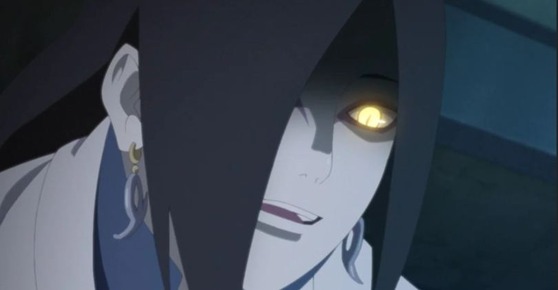 close-up of Orochimaru with glowing yellow eyes