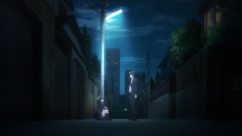 Yoshida meets teenager Sayu late at night under a streetlight, kicking off episode 1 of this series.