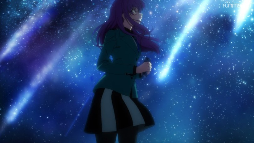 Mayumi watches a volley of shooting stars streak across the sky.