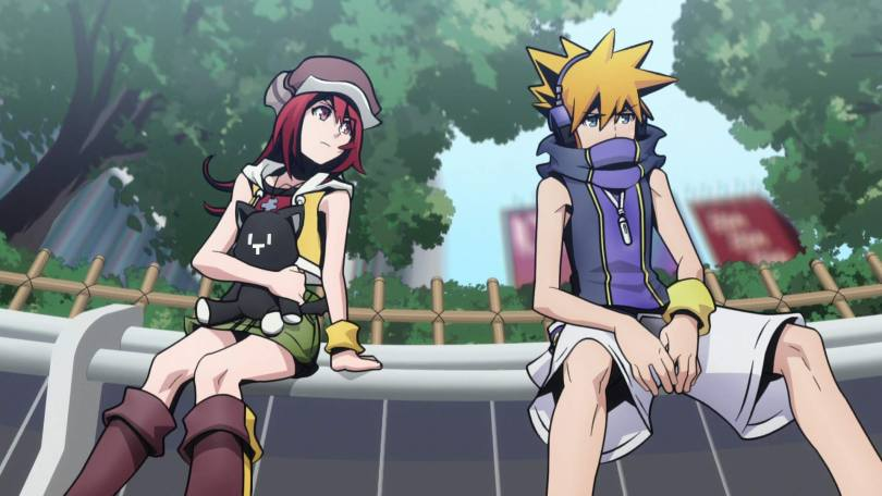 Shiki and Neku sit on a bench. Shiki is holding a plush cat and looking curiously at Neku, who broods.