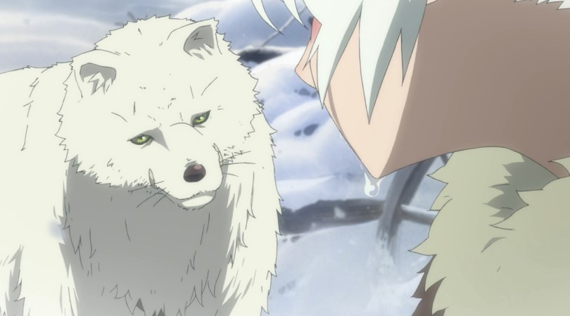 A wolf looking perplexed at a crying boy