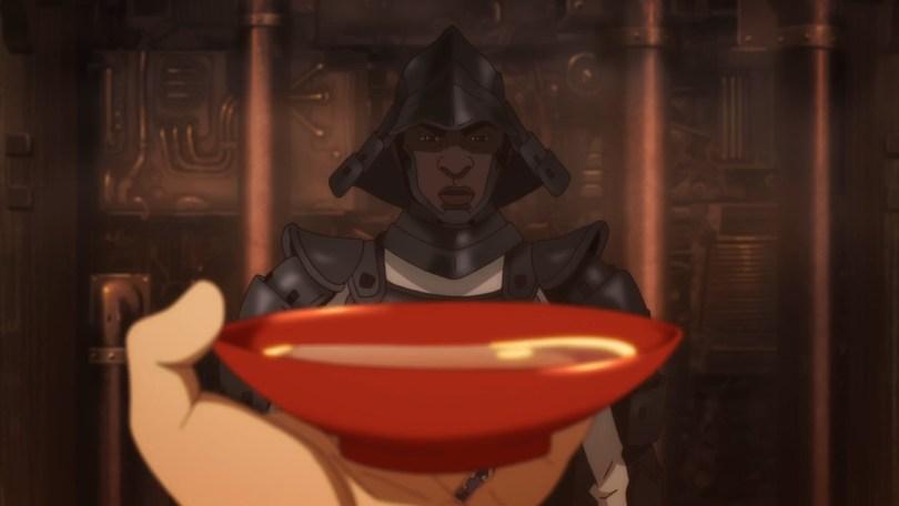 Yasuke looks on in mild frustration as Lord Nobunaga drinks himself into a stupor mid-battle.