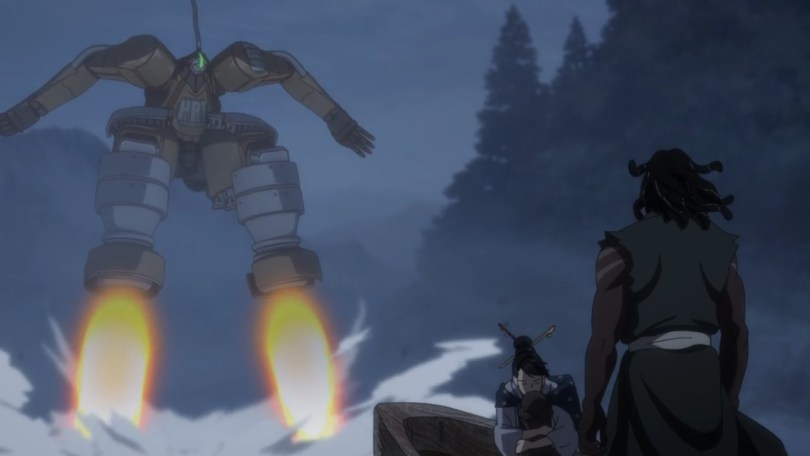 Yasuke and his customers watch a giant mecha land before them, signalling trouble.
