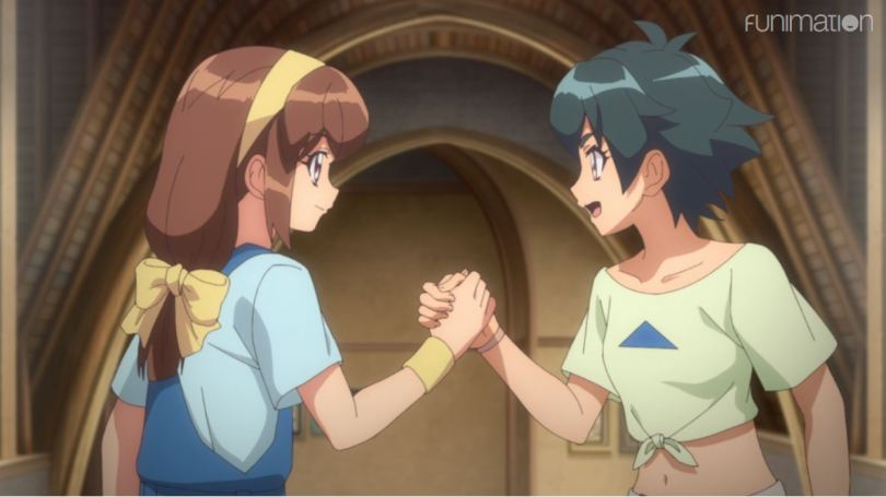 Kanata and Shelley grasping hands in a shake