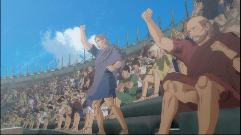 poorly rendered image of a cheering crowd